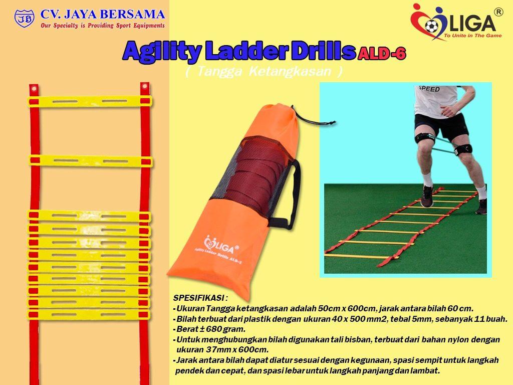 Spesifikasi Agility Ladder Drills ALD-6 (Tangga Ketangkasan) merek Liga sebagai berikut : - Ukuran tangga ketangkasan yaitu 50cm x 600cm dan jarak antara bilah yaitu 60cm. - Bilah terbuat dari plastik dengan ukuran yaitu 40mm x 500mm dan tebal 5mm sebanyak 11 buah.